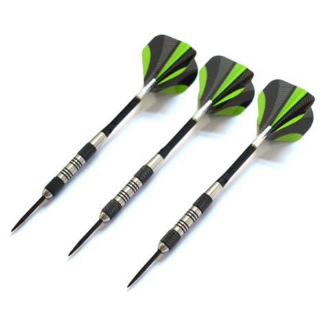 Dublin Steel Tip Darts Set - Includes 3 Darts with Aluminum Shafts, 3 Extra Poly Flights, Dart Wrench, and Case - Black