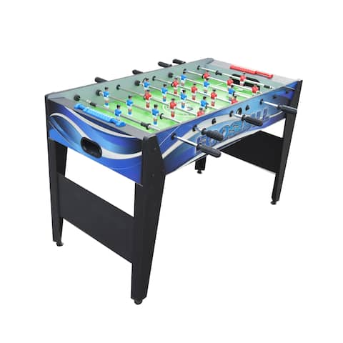Allure 48-in Foosball Table with Spring-Loaded Telescopic Safety Rods - Black and Blue Graphics