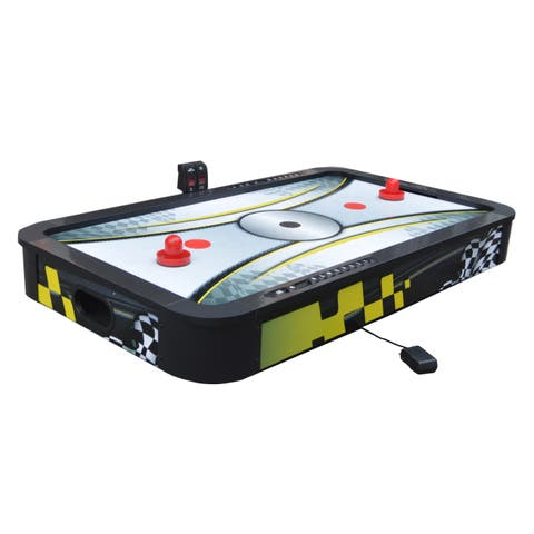 Le Mans 42-in Tabletop Air Hockey Table with Dual Scoring System and High-Speed Playing Surface - Black/Yellow
