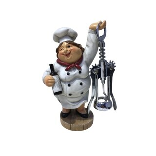 "Winking Fat Lady Italian Chef Wine Bottle Cork Opener, Funny Handmade Novelty Figurine 7.5"" Tall"