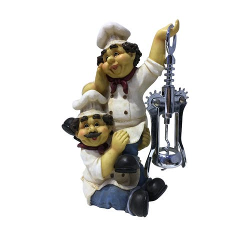 "Funny Chubby Chef Duo Figurine Wine Bottle Cork Opener 8"" Tall White & Blue"