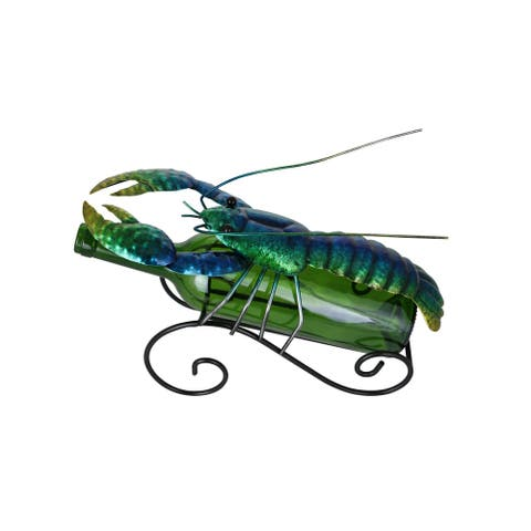 Lobster Metal Wine Bottle Holder Rack Caddy, Iridescent Blue & Green