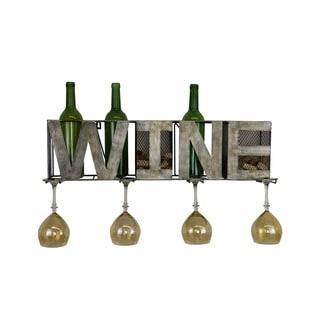 Metal Wall Unit Wine Bottle, Glass, and Cork Holder Fits 3 Bottles & 4 Glasses