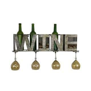 Metal Wall Unit Wine Bottle, Glass, and Cork Holder Fits 3 Bottles & 4 Glasses