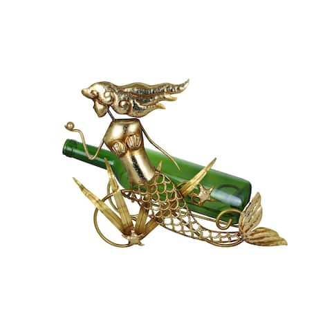 "Golden Mermaid Wine Bottle Holder 11"" x 12"" Aquatic Fantasy Kitchen & Home Decor Wine & Bar Accessory Novelty Figurine"