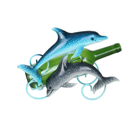 """Happy Duo of Dolphins Metal Wine Bottle Holder Caddy Rack Blue & Grey 12"""" x 9"""""""