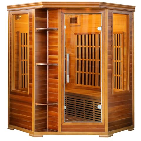 Cedar Elite Infrared Sauna for 3 People with 7 Low-EMF Carbon Heaters and Audio System