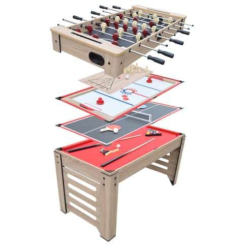 Madison 54-in 6-in-1 Multi Game Table with Foosball, Glide Hockey, Table Tennis, Billiards, Backgammon, and Chess