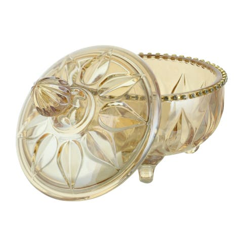 """Round Amber Hued Glass Candy Dish w/Crystal Accents & Lid 5"""" x 6"""""""