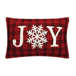 Joy Snowflakes Embroidered Pillow By Mistletoe and Co.