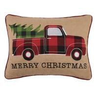 Tree On Truck Burlap Applique Pillow By Mistletoe and Co.