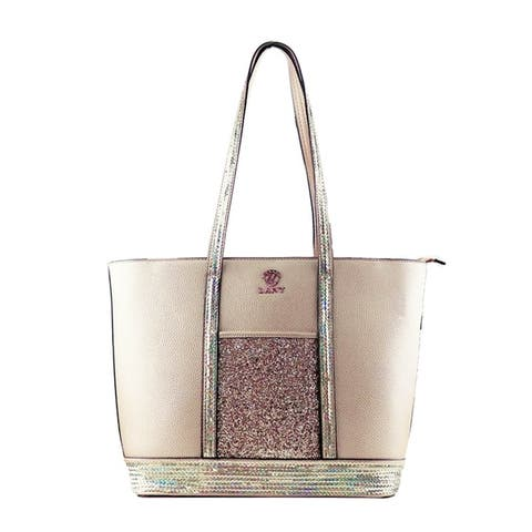LANY Glitter & Sequin Accent Tote w/ Makeup Pouch & Wallet Set