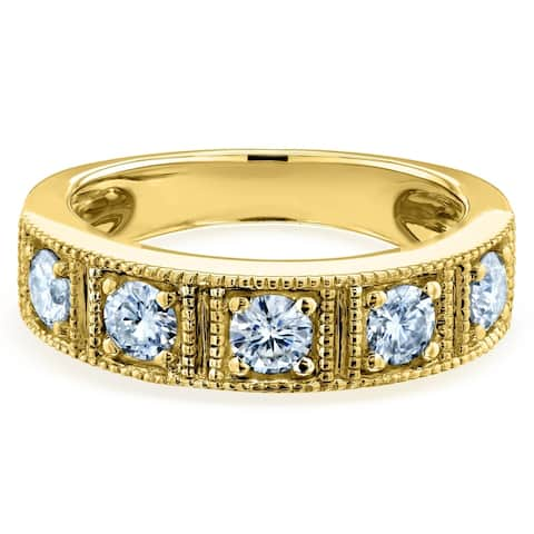 Annello by Kobelli 14k Gold 7/8ct TGW Milgrain Framed Five Stone Moissanite Womens Wedding Ring (5mm), FG/VS