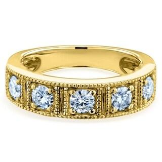 Link to Annello by Kobelli 14k Gold 7/8ct TGW Milgrain Framed Five Stone Forever One Moissanite Womens Wedding Ring (5mm), DEF/VS Similar Items in Rings
