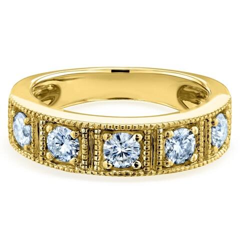 Annello by Kobelli 14k Gold 7/8ct TGW Milgrain Framed Five Stone Forever One Moissanite Womens Wedding Ring (5mm), DEF/VS