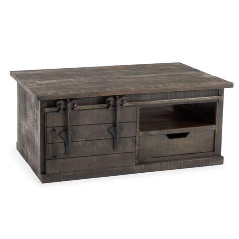 Wyatt Barn Door Coffee Table in Charcoal Grey by RST Brands