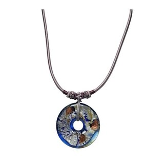 Dark or Light Blue Detailed Glass Disc Pendant on Leather Cord