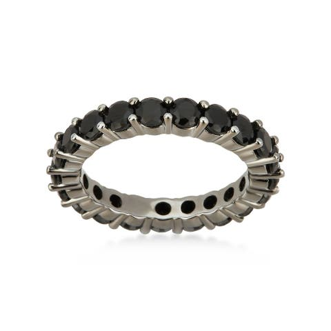 Divina Black Plated Cubic Zirconia Sterling Silver Eternity Band