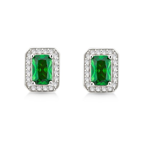 Divina Sterling Silver Created Emerald and Cubic Zirconia Earrings