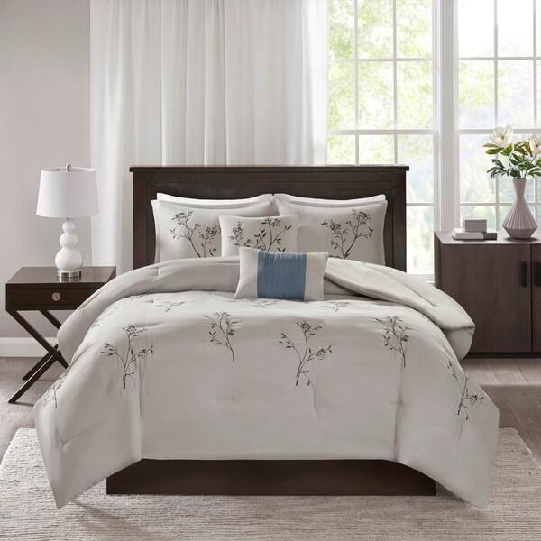 510 Design Annika Blue/ Grey 5 Piece Embroidered Floral Comforter Set