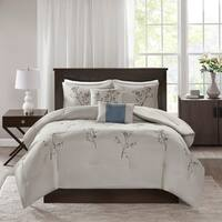 510 Design Annika Blue/ Grey 5 Piece Embroidered Floral Comforter Set