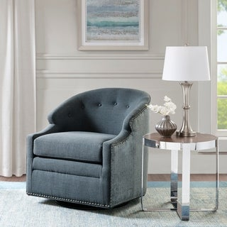 Madison Park Binghamton Blue Swivel Glider Chair with Pewter Nailheads