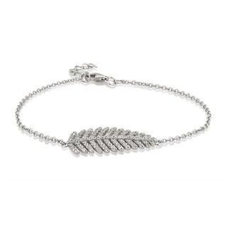 Divina Sterling Silver Cubic Zirconia Leaf Link Bracelet