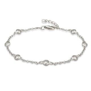 Divina Sterling Silver Cubic Zirconia Link Bracelet