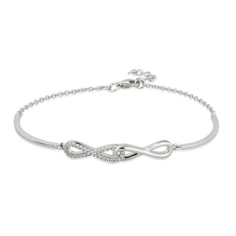 Divina Sterling Silver Cubic Zirconia Infinity Link Bracelet