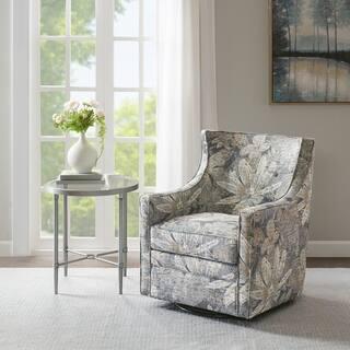 Madison Park Minkoff Blue Multi Curve Back Swivel Glider Chair