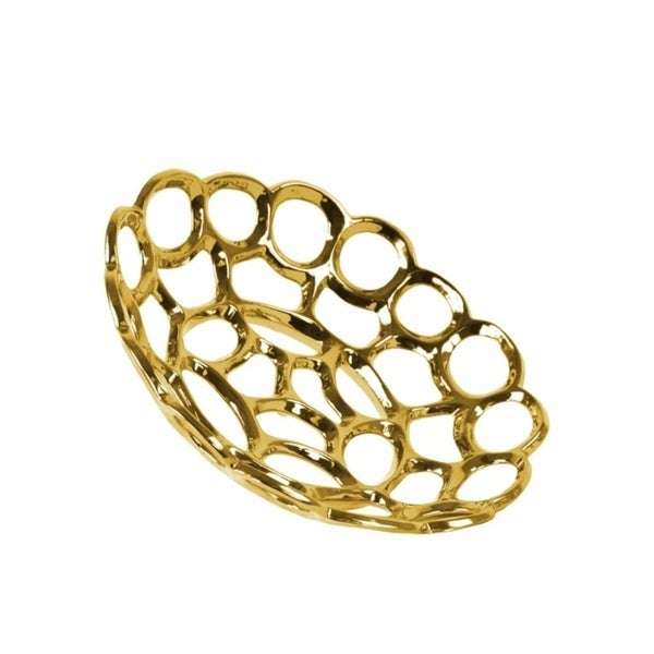 Ceramic Concave Tray With Perforated and Chain-link Pattern, Small, Chrome Gold