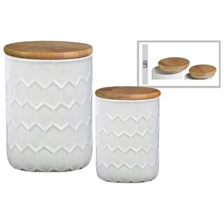 Honeycomb Pattern Ceramic Cylinder Canister with Bamboo Lid, Set of 2, White