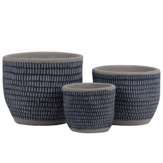 Irregular Stoneware Pot With Engrave Lattice Oblong Design, Set of 3, Blue