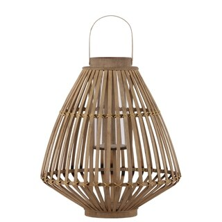 Bamboo Lattice Bellied Lantern With Hurricane Candle Holder, Large, Brown