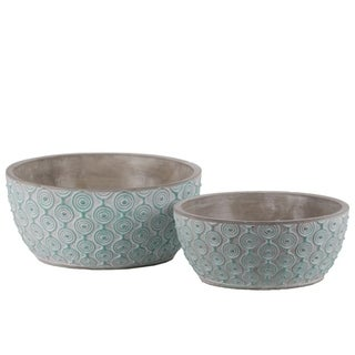 Cement Low Round Embossed Concentric Circle Design Pot, Set of 2, Turquoise