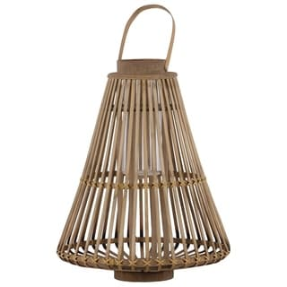 Bamboo Lattice Bellied Lantern With Hurricane Candle Holder, Small, Brown