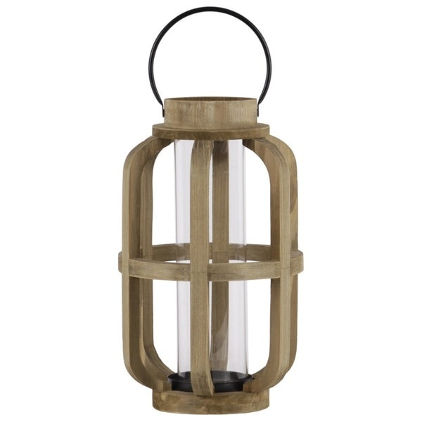 Wood Cylinder Metal Handle Lantern With Hurricane Candle Holder, Large, Brown