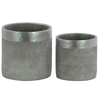 Round Cemented Flower Pot With Silver Banded Rim Top, Set of 2, Gray