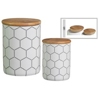 Cylindrical Ceramic Canister With Printed Hexagon Lattice Design, Set of 2, White