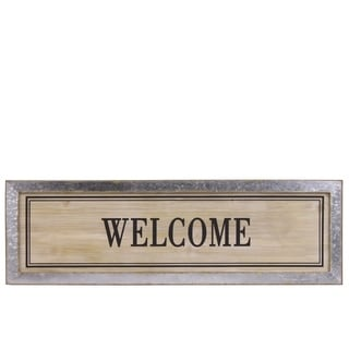 "Wood Alphabet Decor ""Welcome"" On Metal Rust Effect Rectangular Edge, Brown"