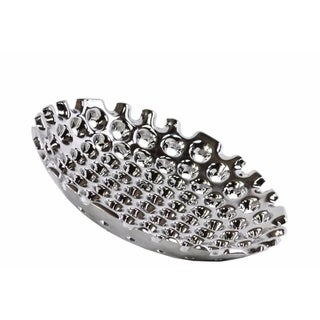 Ceramic Concave Tray With Perforated Pattern, Small, Chrome Silver