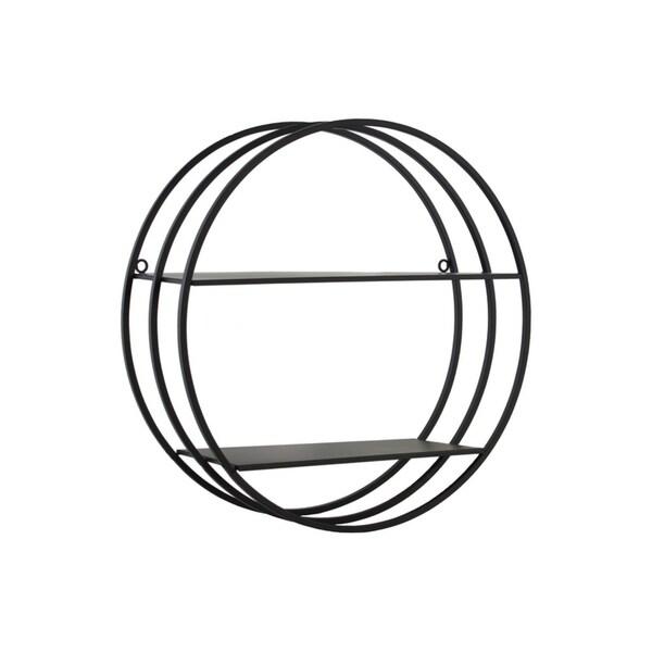 2 Tier Round Shaped Wall Shelf In Metal, Black