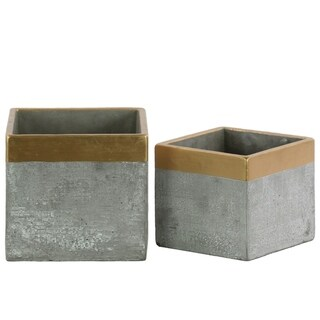 Square Cemented Flower Pot With Gold Banded Rim Top, Set of 2, Gray