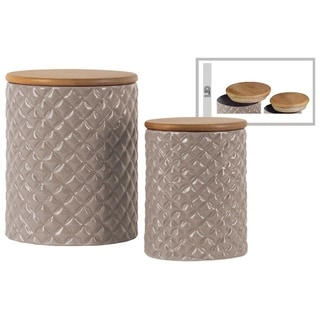 Cylindrical Ceramic Canister With Lattice Diamond Design, Set of 2, Taupe Gray