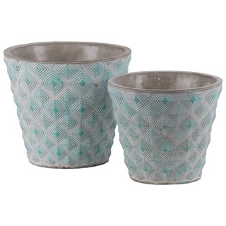 Cement Round Embossed Concentric Diamond Design Pot, Set of 2, Turquoise