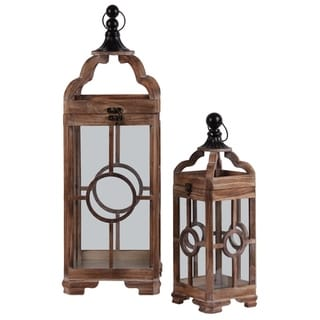 Wooden Square Lantern With Metal Round Finial Top And Circle Design, Set of 2, Brown