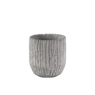 Cement Round Pot With Tapered Bottom In Broomed Finish, Small, Light Gray