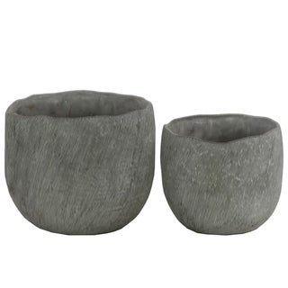Distressed Round Cemented Flower Pot With Tapered Bottom, Set of 2, Gray