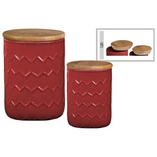 Honeycomb Pattern Ceramic Cylinder Canister with Bamboo Lid, Set of 2,Red
