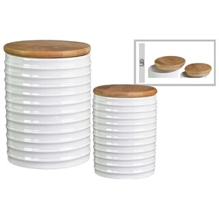 Ribbed Patterned Cylindrical Ceramic Canister With Wooden Lid, Set of 2, White